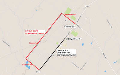 Chipsealing High St South in Carterton – January