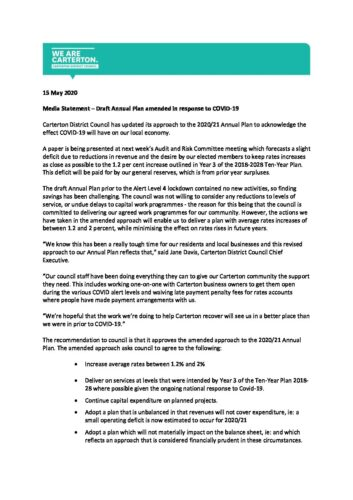 Media Statement Draft Annual Plan Amended In Response To COVID 19