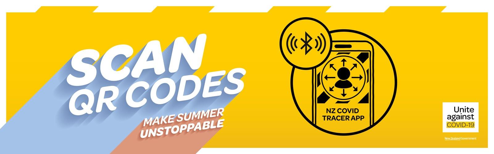COVID 19 Make Summer Unstoppable Digital Banner Scan QR Codes