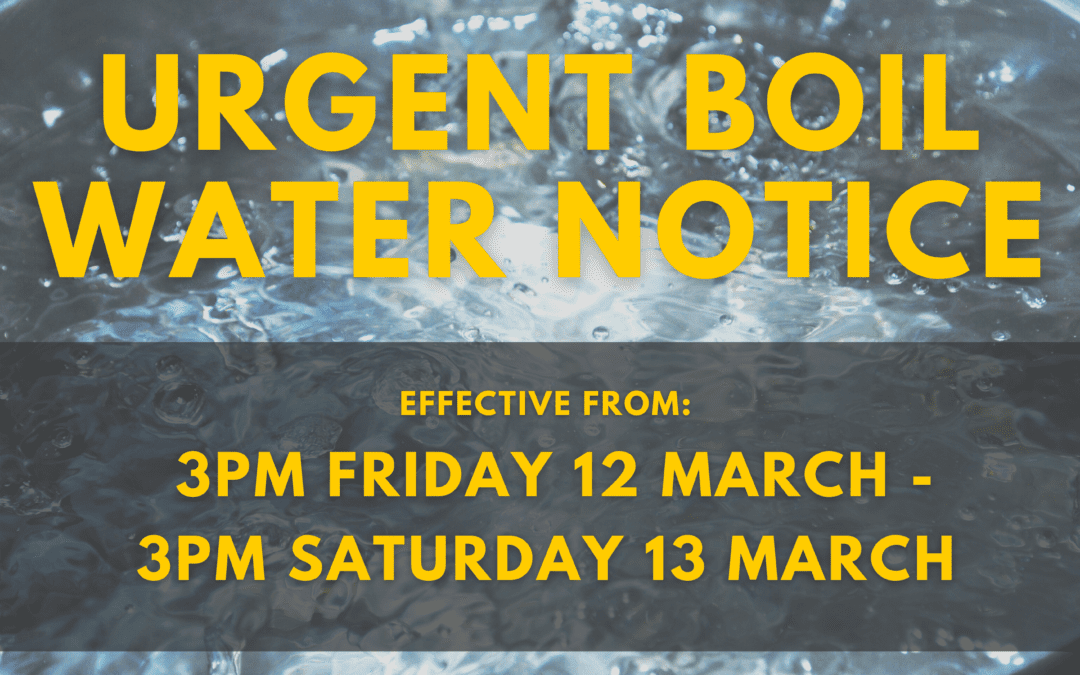 URGENT – All drinking water must be boiled in Carterton for 24 hours